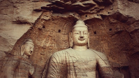 Buddha carved into the mountain