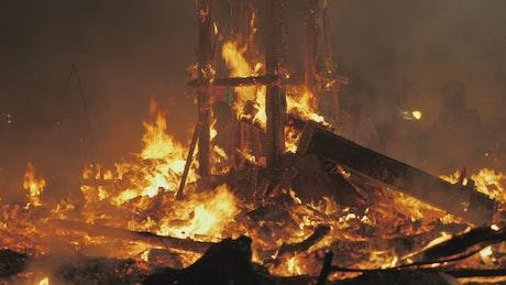 Building burning down