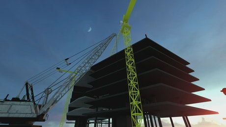 Building under construction with an architect
