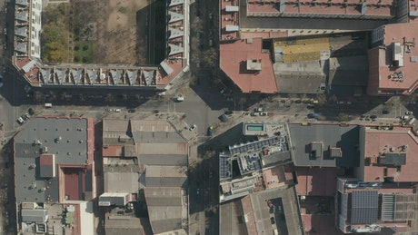 Buildings in Barcelona, top aerial shot
