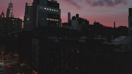 Buildings in Manhattan at dusk