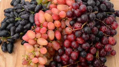 Bunches of grapes of different types