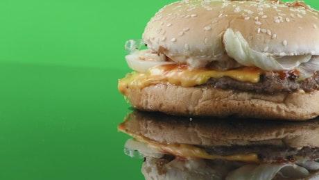 Burger on chroma background