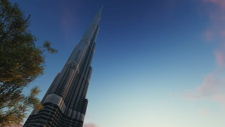 Burj Khalifa in 3D with the sky in the background
