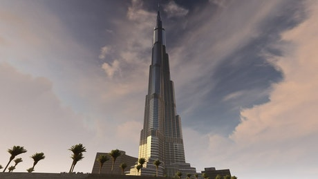 Burj Khalifa low view, 3D animation
