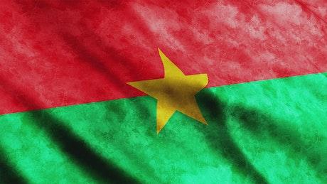 Burkina faded flag waving