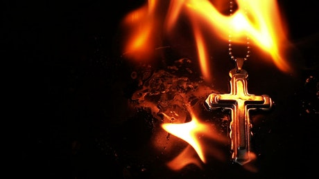 Burning Christian Cross