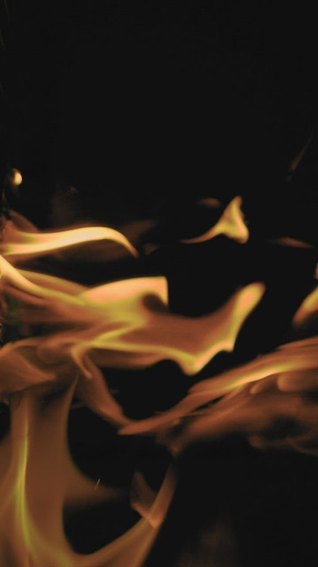 Burning flames with black background