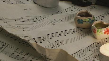Burning romantic music score