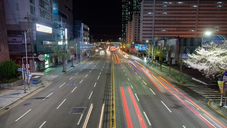 Busan city road with traffic at night