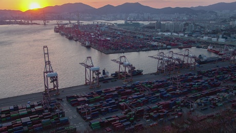 Busan containerport at sunset