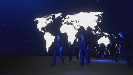Business people walking under a world map in the dark
