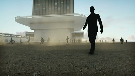 Business workers walking near a corporate building