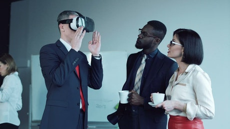 Businessman trying a virtual reality headset