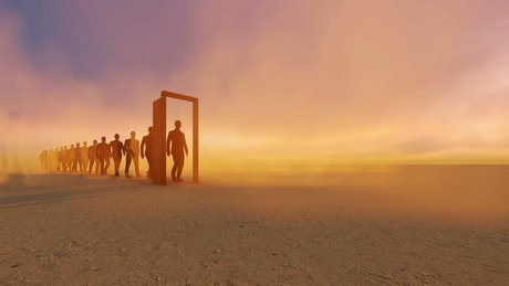 Businessmen walking through a door in a desert