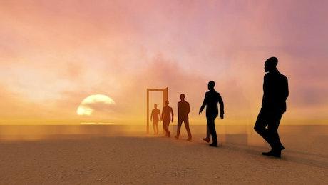 Businessmen walking through a door in the desert