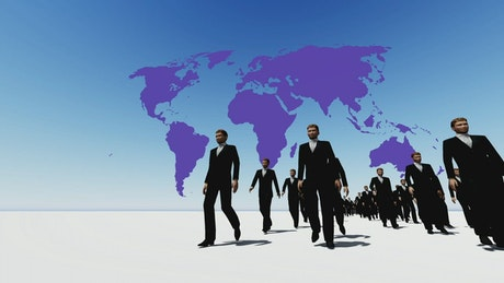 Businessmen walking with a world map behind