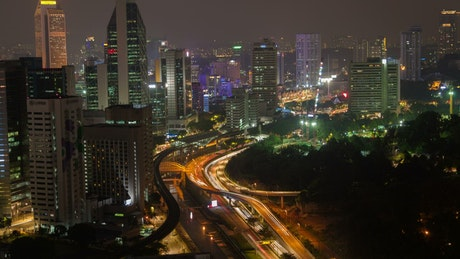 Busy city highway at night