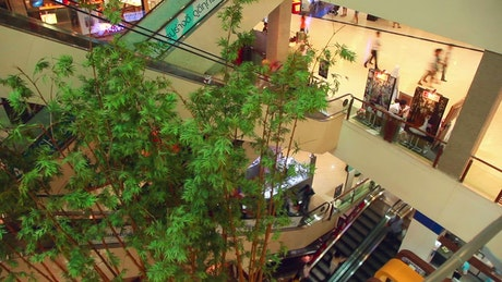 Busy mall escalator timelapse