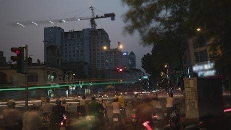 Busy night traffic in Hanoi