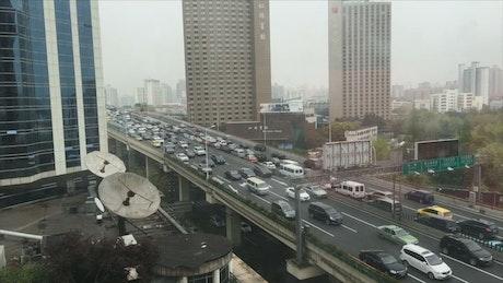 Busy traffic on a bridge in Shanghai