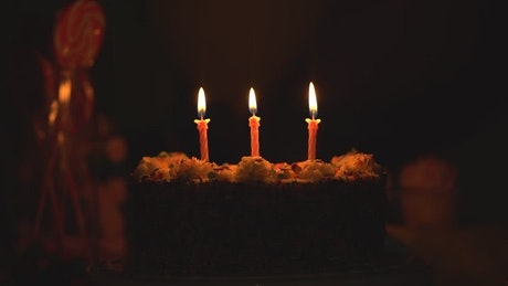 Cake with burning candles in the dark