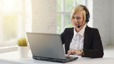 Call center operator doing home office