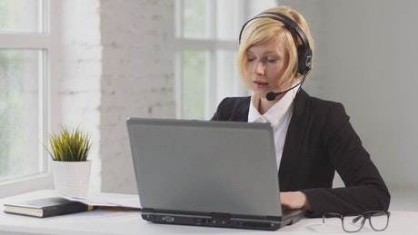 Call center operator working at home