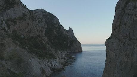 Calm sea below the cliffs
