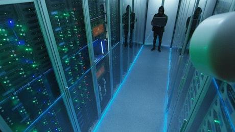 Camera recording hacker entering data center