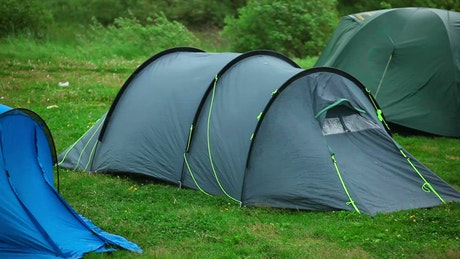Camping tent waving in the wind