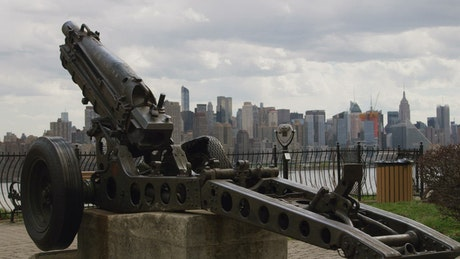 Cannon on the banks of New York City