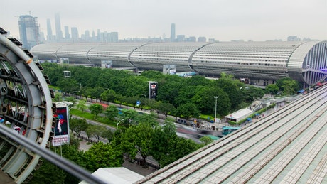 Canton fair buildings on a clear day