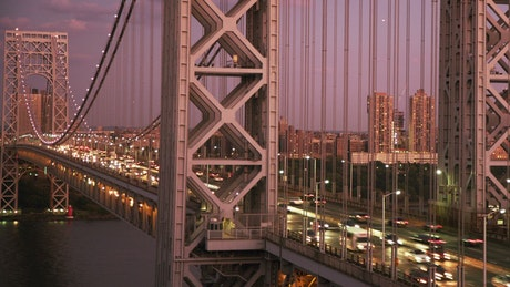 Car lights over the George Washington Bridge