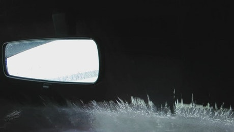 Car wash seen from inside the car