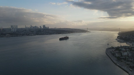 Cargo ship arriving to Istanbul