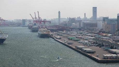 Cargo ship arriving to Tokio Port