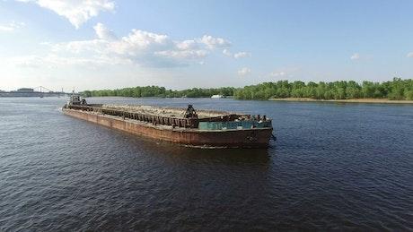 Cargo ship down the river