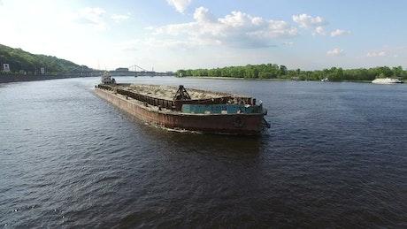 Cargo ship in the river