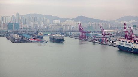 Cargo ship on the Harbor in Korea