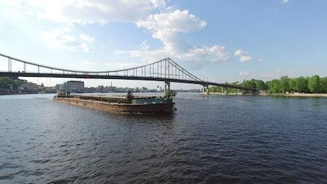 Cargo ship on the river