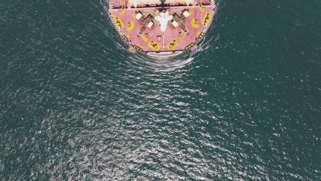 Cargo ship seen from top