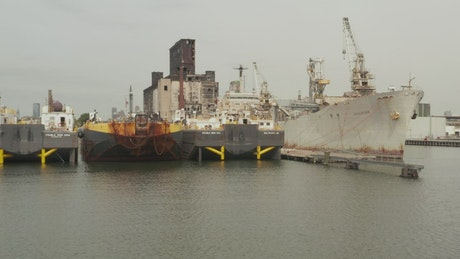 Cargo ships anchored in the international port
