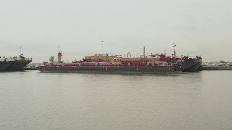 Cargo ships in a dock in New York