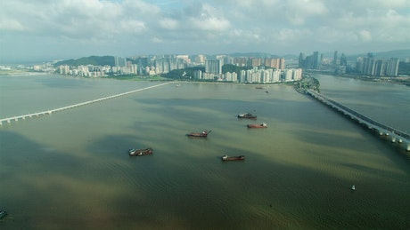 Cargo ships standing still on the river
