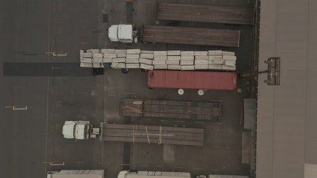 Cargo trucks in the warehouse parking lot