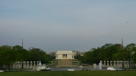 Cars parked by the Lincoln Memorial