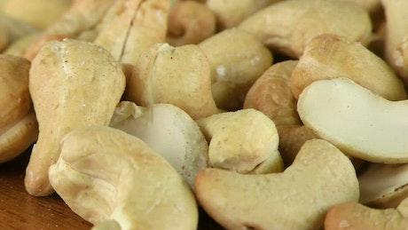Cashew Nuts spinning, macro