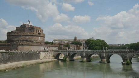 Castel Sant'Angelo in Rome with tourists strolling
