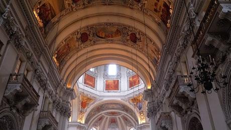 Cathedral interior view in Salzburg